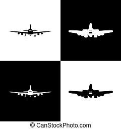 voando, avião, sinal., frente, vista., vector.
