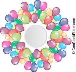 voando, balões, borda, com, círculo, espaço vazio, para, seu, texto, ou, design.
