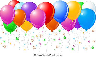 voando, balões, cima, coloridos