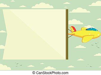 voando, bandeira, avião