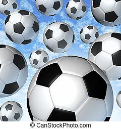 voando, bolas futebol