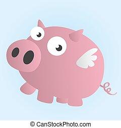 voando, caricatura, porca