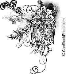 voando, crucifixos, com, scroll, decoração