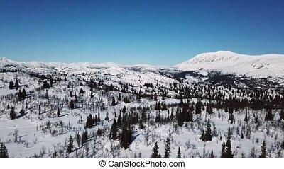 voando, em, grande, montanha, paisagem inverno