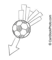 voando, esboço, bola, seta, futebol