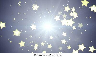 voando, estrelas, loopable, festivo, fundo