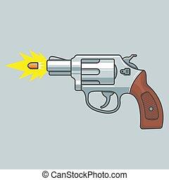 voando, fogo, bullet., tiro., arma, revólver, shoots.