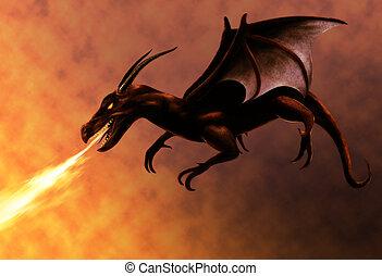 voando, fogo, dragão