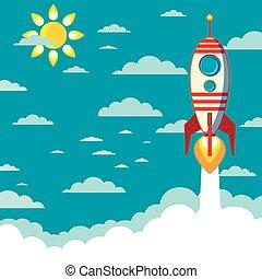 voando, foguete, com, espaço, para, texto
