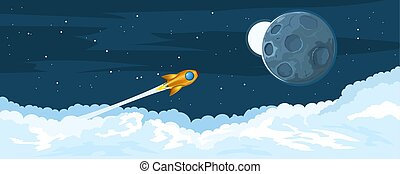 voando, foguetes, lua