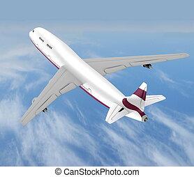 voando, jato, avião