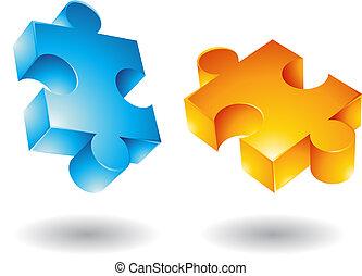 voando, jigsaw, 3d, ícones