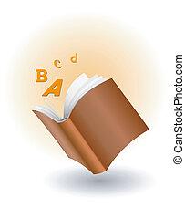 voando, letras, livro