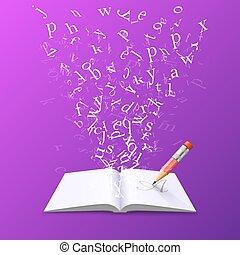 voando, livro, letters.