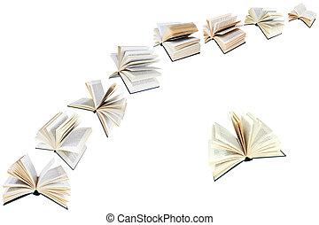 voando, livros, arco, isolado