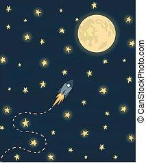 voando, lua, foguete, espaço