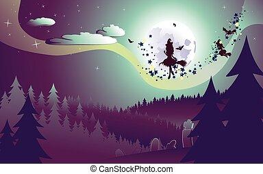voando, madeiras, feiticeira