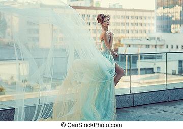 voando, menina, dress., macio