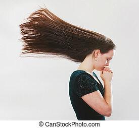 voando, mulher rezando, hair.