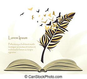 voando, multicolored, caneta, livro, pena, abertos, pássaros