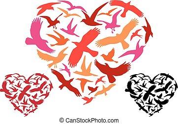 voando, pássaros, coração, vetorial