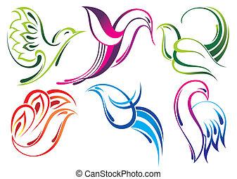 voando, pássaros, vetorial, ícones