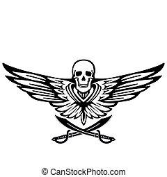 voando, pirata, asa