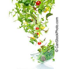 voando, salada
