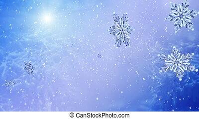 voando, snowflake, ligado, neve azul, experiência., lento,...
