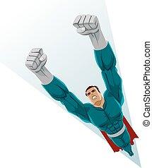 voando, superhero, cima