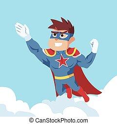 voando, superhero, ilustração