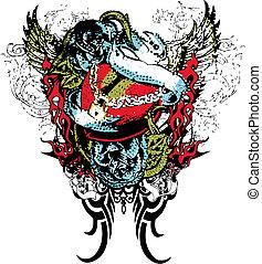 voando, trancadas, coração, com, scroll, ornamento