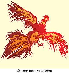 voando, vermelho, galo