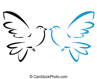voando, vetorial, pomba, ilustração
