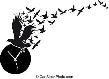 voando, vetorial, relógio, pássaros