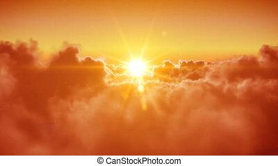 voar, a, nuvens, com, a, sol