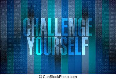 você mesmo, binário, desafio, conceito, sinal