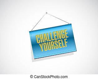 você mesmo, desafio, conceito, bandeira, sinal