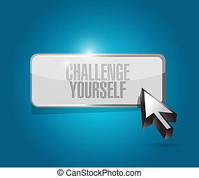 você mesmo, desafio, conceito, botão, sinal