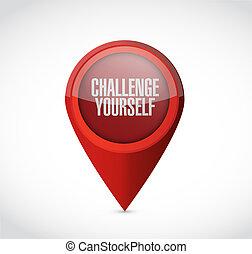 você mesmo, desafio, conceito, ponteiro, sinal