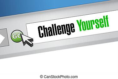 você mesmo, desafio, conceito, sinal, online