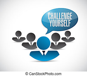 você mesmo, desafio, conceito, trabalho equipe, sinal