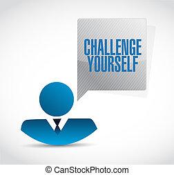 você mesmo, homem negócios, desafio, conceito, sinal