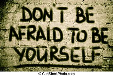 você mesmo, ser, conceito, amedrontado, faça