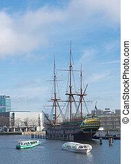 VOC ship in amsterdam - replica of the famous dutch East ...