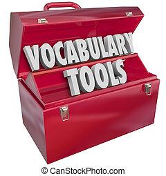 vocabolario, parole, imparare, nuovo, educazione, attrezzi
