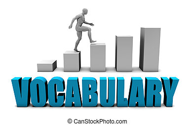 Vocabulary 3D Concept  in Blue with Bar Chart Graph
