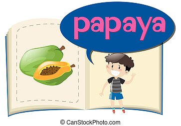 Vocabulary book with word papaya