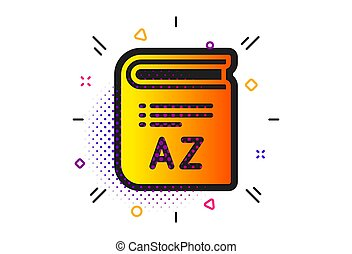 Book glossary sign. Halftone circles pattern. Vocabulary icon. Classic flat vocabulary icon. Vector