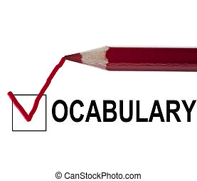 Vocabulary message and red pencil